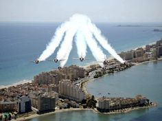 Flying out of San Javier, the Spanish Red Arrows perform a spectacular air show every summer. Gaudi, Valencia, Alicante Spain, Cabo, Spanish House, Places Of Interest, Air Show, Pictures, Travel