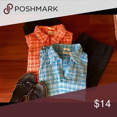 Stretchy Plaid Top Bundle Gently loved, sleeveless stretchy pin-tuck top bundle! Includes two identical tops, one in a pink plaid and the other in a blue plaid with a v-neck and small collar. 99% cotton, 1% spandex. St. John's Bay Tops