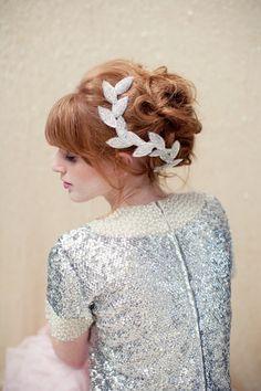 Beaded Leaf Clip/Headband | 47 Gorgeous Wedding Headpiece Ideas