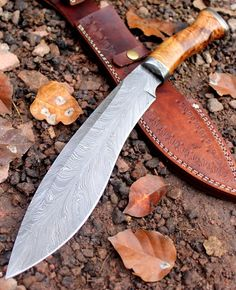 Damascus Knife Custom Handmade - 15.00 Inches Khukari Knife - Feather Pattern #Handmade