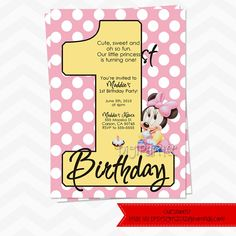 Hey, I found this really awesome Etsy listing at https://www.etsy.com/listing/99138772/baby-minnie-mouse-invitations