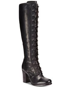 Zlyc Women's Vintage Lace Up Knee High Boots 92
