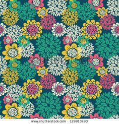Vintage Floral Seamless Pattern Stock Vector 129913790 : Shutterstock