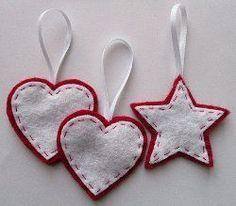 Stars & Hearts Felt Ornaments | AllFreeChristmasCrafts.com