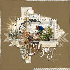 Snow Joy woodsy winter scrapbook page by Kayleigh #designerdigitals