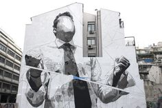 Artist: INO Location: Athens, Greece Material: Acrylic paint on wall Title: Snow. Artist: INO Location: Athens, Greece Material: Acrylic paint on wall Title: Snowblind Easy Graffiti, Graffiti Murals, Face L, Athens Greece, Mural Painting, Banksy, Public Art, Yorkie, Street Photography