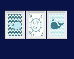 whale decor for baby room | Whale Art Nursery Decor Personalized Initial Aqua Blue Wall Art Ocean ...