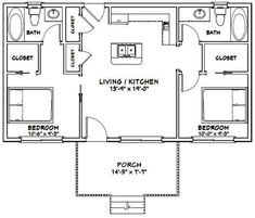 63 Ideas House Arquitecture Floor Plans Bath - The Effective Pictures We Offer You About luxury House A quality picture can tell you many things. You can find 2 Bedroom Floor Plans, Cottage Floor Plans, Small House Floor Plans, 2 Bedroom Apartment Floor Plan, Shed House Plans, Best House Plans, The Plan, How To Plan, Bedroom Layouts