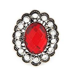 Vintage Rhinestone Surround Red Gem Adjustable Ring
