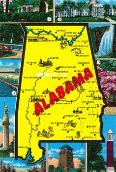 Alabama Pictorial State Map Postcard