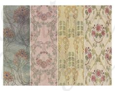 Art Nouveau digital collage sheet, 4 bookmarks, wallpaper, ANB13 -    Edit Listing  - Etsy