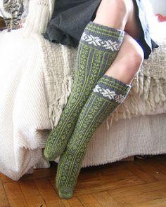 Sportweight colorwork sock knitting pattern - Norwegian Stockings by Nancy Bush.