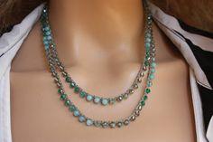 Khaki and Aqua  Crocheted Necklace/Five Wrap Bracelet , Boho Chic Bracelet
