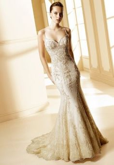 beautiful - beaded wedding dress with fish tail / mermaid tail