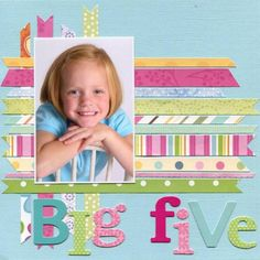 Big Five by - Cards and Paper Crafts at Splitcoaststampers Birthday Scrapbook Layouts, Scrapbook Layout Sketches, Scrapbook Titles, 12x12 Scrapbook, Scrapbook Designs, Scrapbooking Layouts, Heritage Scrapbooking, Scrapbook Background, Kids Pages