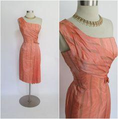 "1950's Vintage Salmon Peach One Shoulder Acetate Draped Striped Cocktail Dress 25"" Waist"