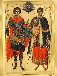 Sts George & Demetrius the Great Martyrs / Heilige Joris en heilige Demetrios Religious Images, Religious Icons, Religious Art, Orthodox Catholic, Orthodox Christianity, Russian Orthodox, Byzantine Icons, Byzantine Art, Christian Symbols