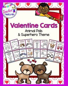 This fun collection of Valentine's Day cards is a great way to ensure that all your students get to participate in giving and receiving valentines. This pack contains 16 different colored and blackline versions in Animal Pals and Super Hero themes. Fun to decorate!