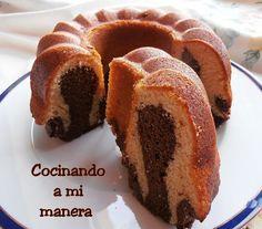 bizcocho bicolor de chocolate y mascarpone