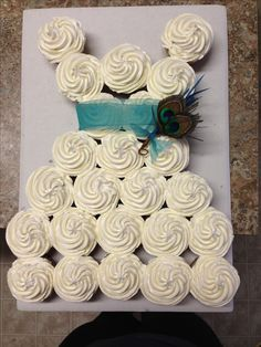 Bridal shower - I think this is a really good idea but maybe have the top of the cupcakes roses instead?