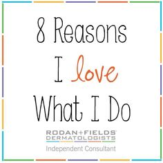 """8 REASONS YOU WILL LOVE RODAN+FIELDS TOO:  1. NO inventory  2. NO parties  3. Make your own hours (work/life balance!!) 4. Be your own BOSS 5. Created by the dermatologists who created Proactiv  6. Rated #64 in the Direct Selling Network of Global  7. According to Harvard Business School """"Once in a lifetime opportunity""""  8. Top earners in Rodan + Fields are earning well over a 6 FIGURE MONTHLY INCOME. OH yeah...I said 6 FIGURE!!!! NO STRESS & A TON OF FUN!! www.aliciaheard.myrandf.biz"""