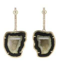 Kimberly McDonald 18k Gold and Geode Drop Earrings