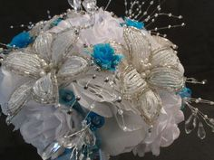 BEADED Bridal Bouquet Wedding Flower 17 Piece Set White Silver TURQUOISE