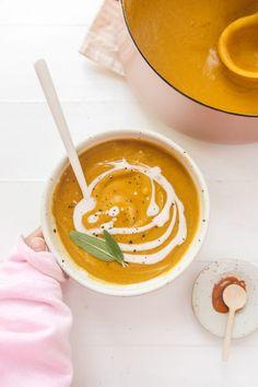 Cozy Pumpkin Lentil Soup (vegan, gluten free, wfpb)   Veggiekins Blog Creamy Pumpkin Soup, Vegan Lentil Soup, Vegan Soups, Vegan Pumpkin, Pumpkin Puree, Dairy Free, Gluten Free, Toasted Pumpkin Seeds, Sin Gluten