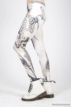 soooo cool especially with the dr martens - and i hear mr dr marten is up for sale? Dr. Martens, Skeleton Leggings, Leg Bones, Apocalyptic Fashion, Black Milk, Best Leggings, Fancy Pants, All About Fashion, Wow Products