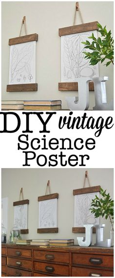 DIY Vintage Science Poster - wonder if I could do this with s trouser hanger?