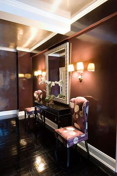 Love the wall color, trim floor.....christina murphy interiors. This color works well in a bathroom.