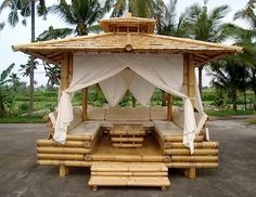 Exquisite Bamboo Wood Gazebo be nice in a backyard near a water feature - like this layout, not the bamboo Diy Pergola, Outdoor Spaces, Outdoor Living, Outdoor Decor, Bamboo House Design, Bamboo Building, Gazebos, Bamboo Structure, Bamboo Architecture
