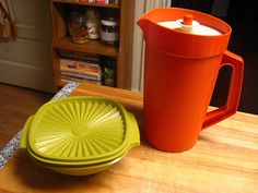 Vintage Tupperware - my Mom had the brown jug. I love vintage Tupperware...but hate the odors that they have when you buy them used...any tips on getting rid of the stink?