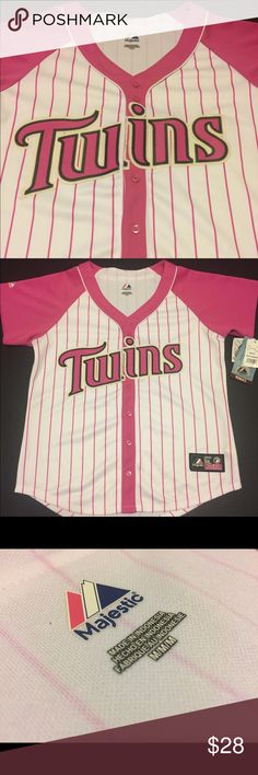 Minnesota Twins Majestic Women's Medium Jersey Minnesota Twins Pink Jersey  Women's Size: Medium Style: Jersey Color: Pink Brand: Majestic Condition: New with Tags  Any questions, please ask!  JG. MINISTRIES Majestic Tops