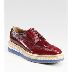 Prada Wing-Tip Platform Espadrille Oxfords ($950) found on Polyvore