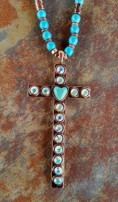COWGIRL Bling Turquoise CROSS  Western COPPER TONE Boho Gypsy NECKLACE set #Unbranded #necklace