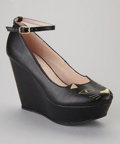 These look like something Abby on NCIS would wear! Take a look at this Black Zena-120 Wedge by Bumper on #zulily today!
