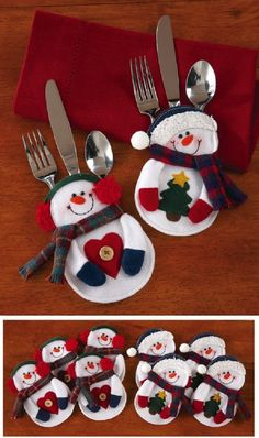 Snowman Holiday Silverware Holders