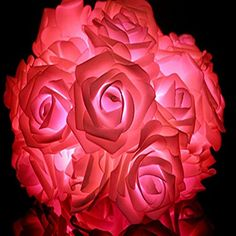 Rose Flower/Decorative String Lights,LED battery box of lights, 6.5ft/2m /20 LEDs Ideal for Wedding Xmas Halloween Diwali Christmas Thanksgiving (Red Rose) * Want to know more, visit