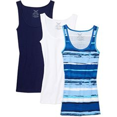 Faded Glory Women's Cotton Rib Tank, 3-Pack, $11.82 for all 3 shirts!  This set would go great with the capri pants I posted earlier today.  Some really great assortments of color choices.  sizes up to xxl at Walmart.