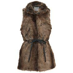 Vero Moda Women's Seal Fake Fur Waistcoat - Black Coffee (180 ILS) ❤ liked on Polyvore featuring outerwear, vests, jackets, black, fake fur vest, faux fur vest, sleeveless vest, waistcoat vest and sleeveless waistcoat