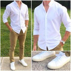 Comfortable Yet Stylish Casual Outfit Ideas For Men nice The Inexplicable Mystery Into Comfortable Yet Stylish Casual Outfit Ideas For Men The Upside to Comfortable Yet Stylish Casual Outfit Ideas For Men Tr. White Shirt Outfits, White Shirt Men, Outfits Casual, Stylish Mens Outfits, Mode Outfits, Men Casual, Fashion Outfits, Fashion Trends, Business Casual Outfits Mens