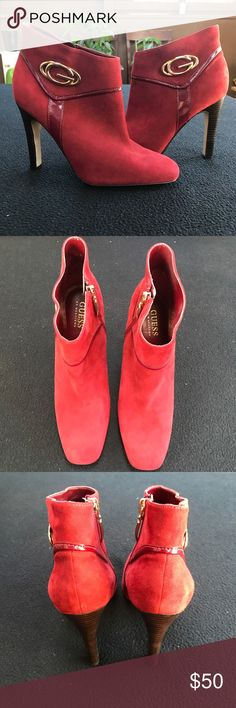 Guess Burnt Red\Orange Heels Hardly used! These are a suede. Guess Shoes Heels