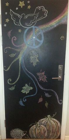 My blackboard door in October. #chalkwall #fall #wallart