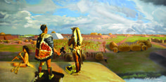 A New View Of Moundville. This illustration shows Moundville during the Mississippian period. credit: Caleb O'Connor