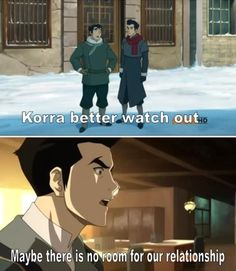 The Legend of Korra: Bolin called it. Bo' why did you have to say that?! Although I think now that Asami *spoiler* kissed Mako, I want Masami again! I'm actually starting to like her now.