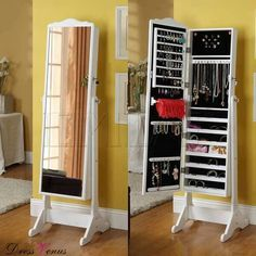 Best Choice Products Mirrored Jewelry Cabinet Armoire W Stand Rings
