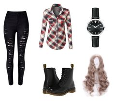 """""""Annabel's Outfts - Casual #1"""" by createit-makeit-loveit ❤ liked on Polyvore featuring LE3NO, WithChic, Dr. Martens and Movado"""