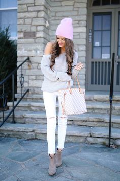 neutral outfit with pops of pink