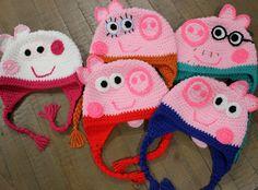 Peppa Pig Family Hats  Mummy Daddy Peppa and by CrochetByDana